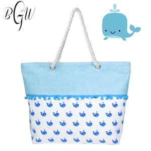 Handbags - 5🌟🐳Canvas Whale Beach Tote